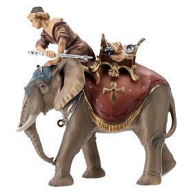 Belén Val Gardena: Grupo del elefante con silla y joyas belén Original madera pintada en Val Gardena 10 cm de altura media