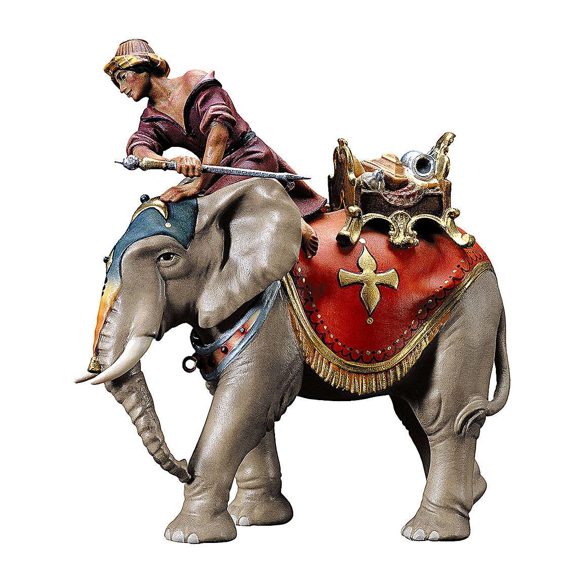 Gruppo dell'elefante con sella e gioielli presepe Original legno dipinto in Val Gardena 10 cm 4