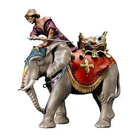 Gruppo dell'elefante con sella e gioielli presepe Original legno dipinto in Val Gardena 10 cm s1