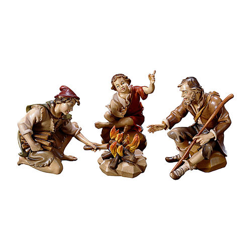 Gruppo di pastori al falò per presepe Original legno dipinto in Val Gardena 12 cm 1