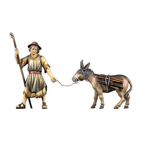Pastore che traina un asinello con legna presepe Original legno dipinto in Valgardena 10 cm 1