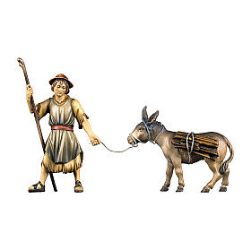 Pastore che traina un asinello con legna per presepe Original legno dipinto in Val Gardena 12 cm s1