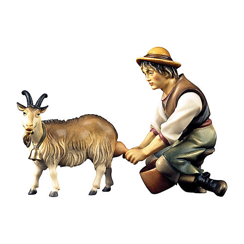 Pastore che munge una capra per presepe Original legno dipinto in Val Gardena 12 cm 1
