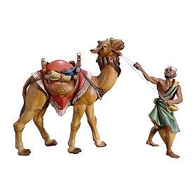 Cammelliere con cammello in piedi per presepe Original legno dipinto in Val Gardena 12 cm s1