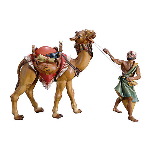 Cammelliere con cammello in piedi per presepe Original legno dipinto in Val Gardena 12 cm 1