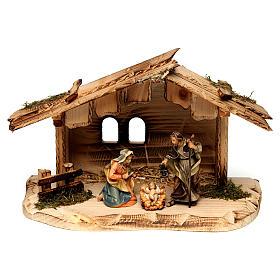 Belén Val Gardena: Sagrada Familia en la casa belén Original madera pintada en Val Gardena 10 cm de altura media