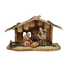 Sacra famiglia nella casa per presepe Original legno dipinto in Val Gardena 12 cm s1