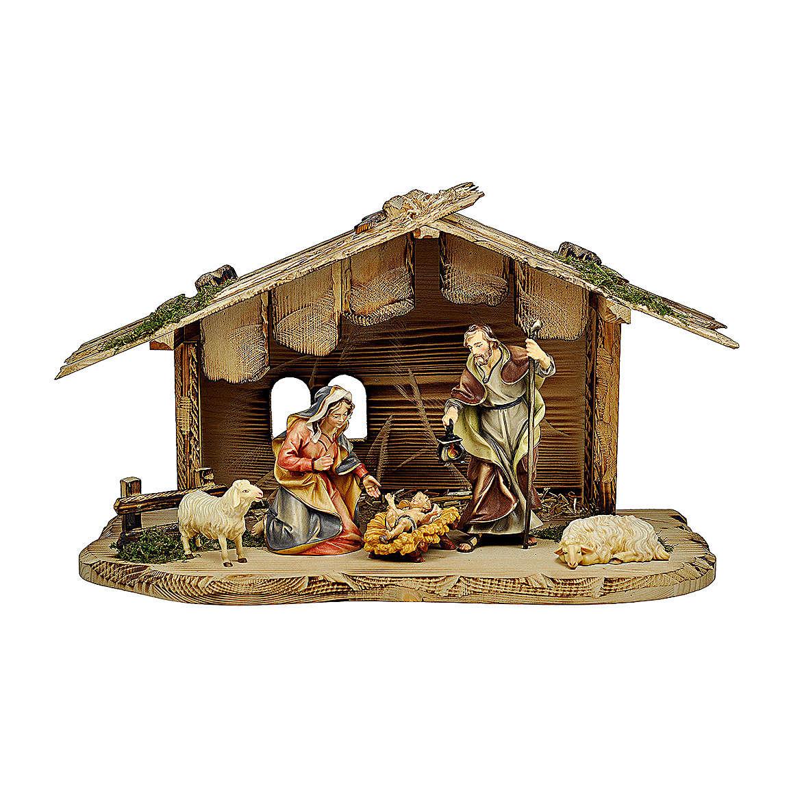Sacra famiglia nella casa con pecore presepe Original legno dipinto in Valgardena 10 cm 4