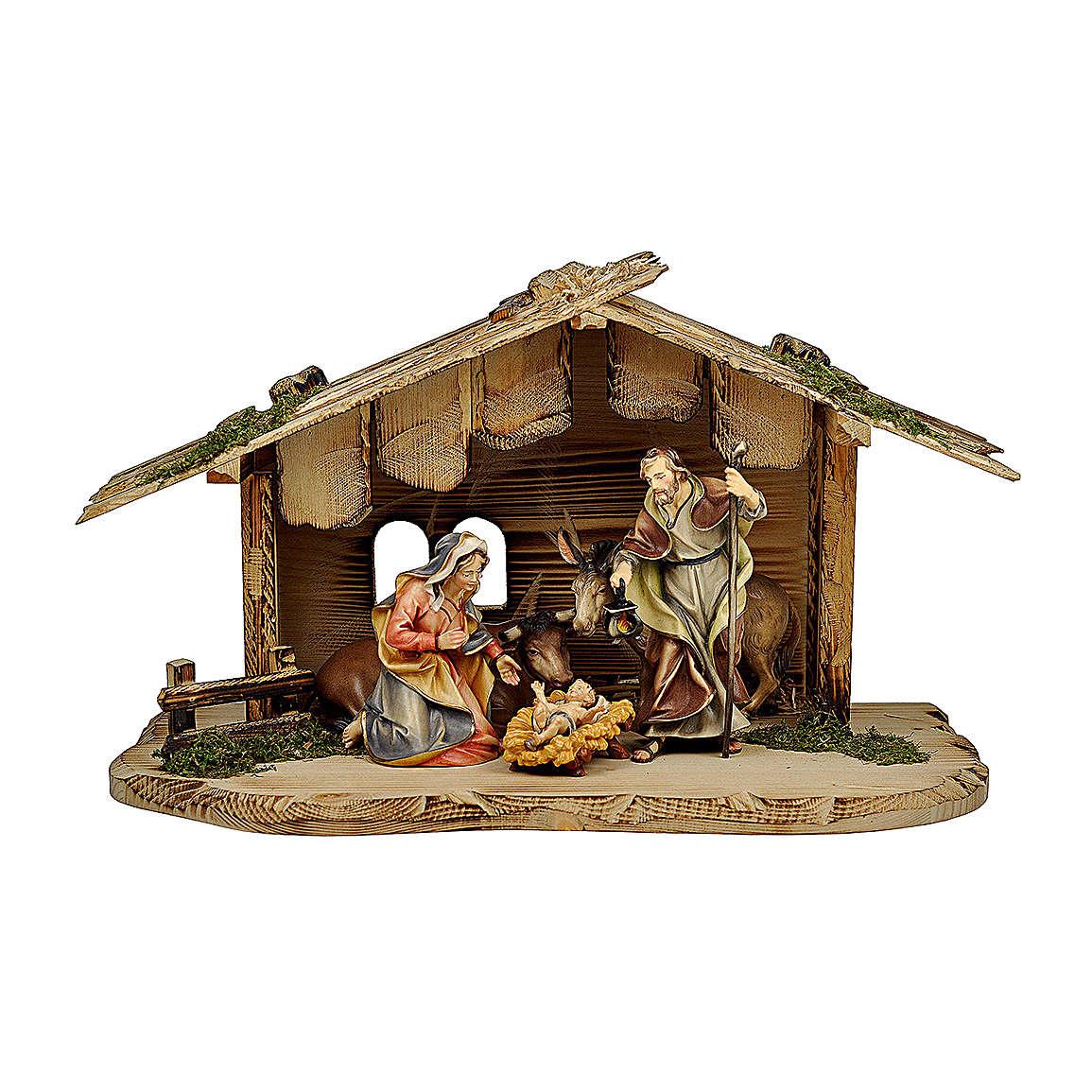 Sacra famiglia con bue e asino presepe Original legno dipinto in Valgardena 10 cm 5 pz 4