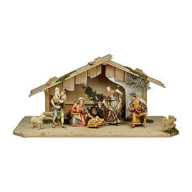 Presepe pastori, bue e asino mod. Original legno dipinto in Valgardena 10 cm - 8 pz s1