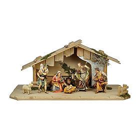 Presepe pastori, bue e asino mod. Original legno dipinto in Val Gardena 12 cm - 8 pz s1