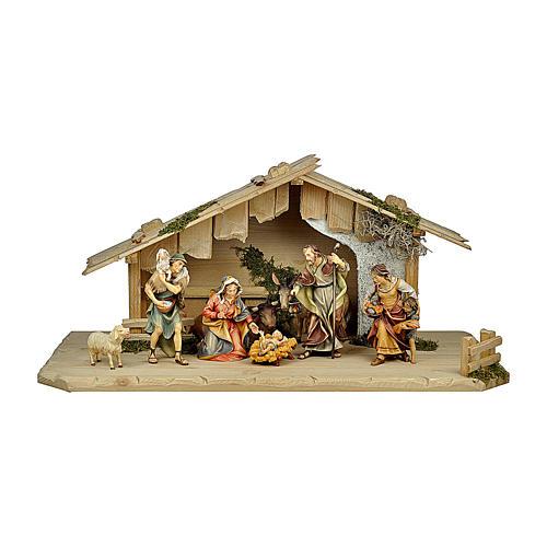 Presepe pastori, bue e asino mod. Original legno dipinto in Val Gardena 12 cm - 8 pz 1