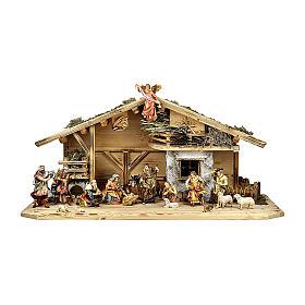 Presepe re magi, pastori, bue e asino mod. Original legno dipinto Val Gardena 12 cm - 18 pz s1
