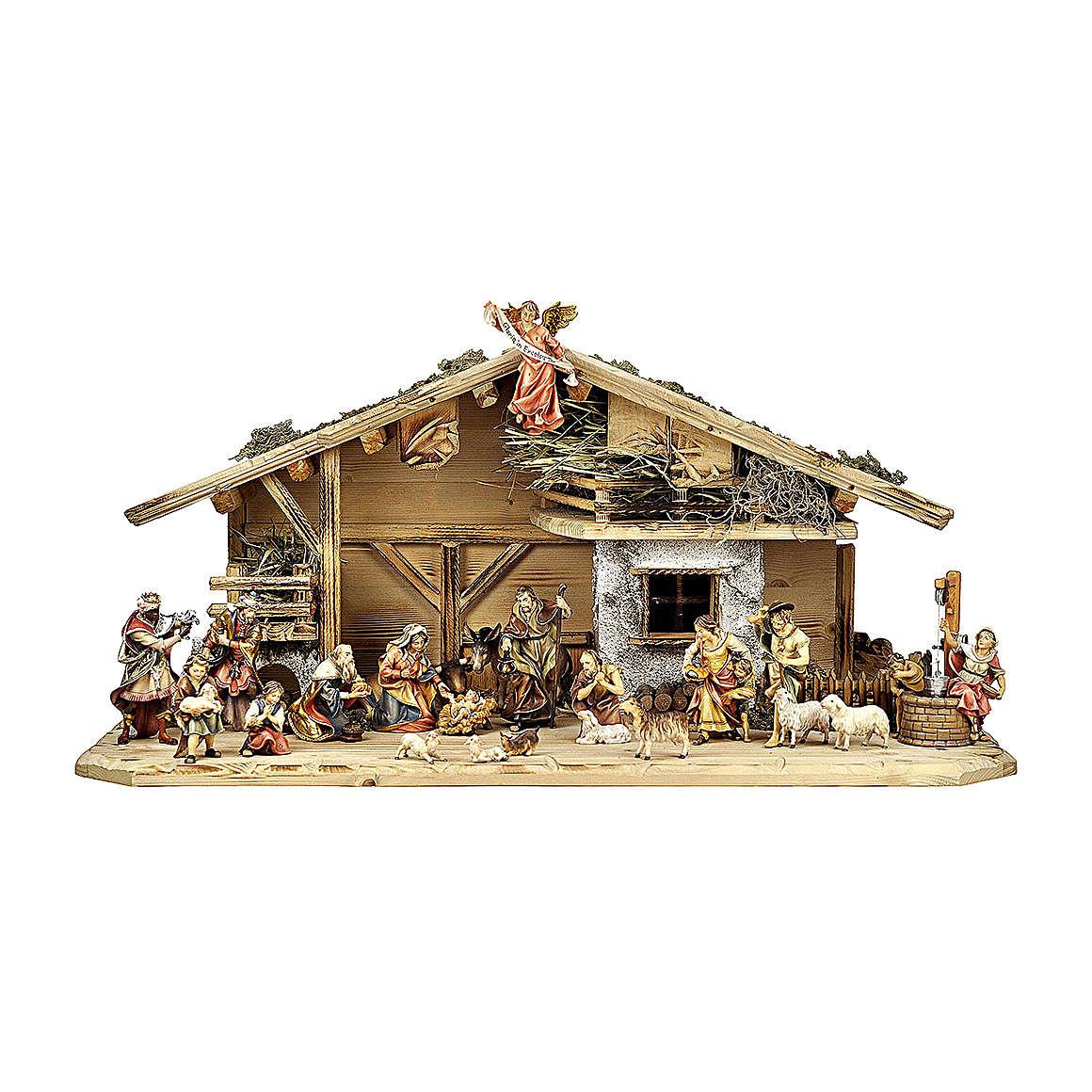 Crèche rois mages enfants bergers boeuf et âne mod. Original bois peint Val Gardena 12 cm 22  pcs 4