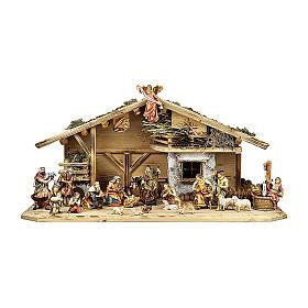 Crèche rois mages enfants bergers boeuf et âne mod. Original bois peint Val Gardena 12 cm 22  pcs s1