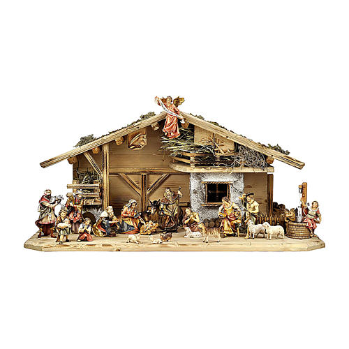 Crèche rois mages enfants bergers boeuf et âne mod. Original bois peint Val Gardena 12 cm 22  pcs 1