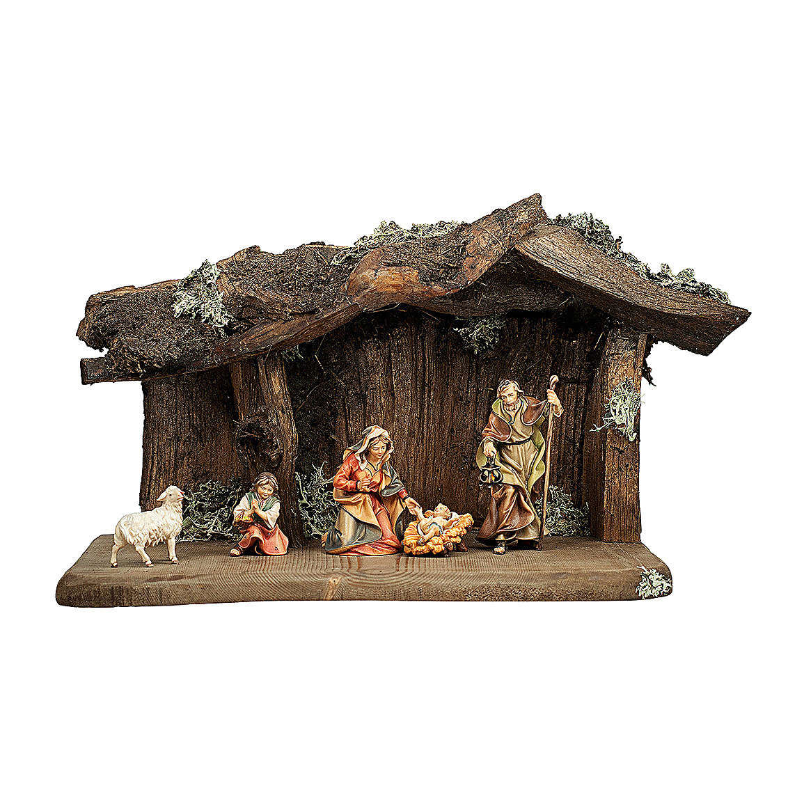 Sacra famiglia nella grotta presepe Original legno dipinto in Valgardena 10 cm - 5 pz 4