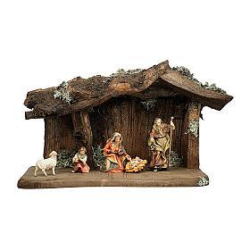 Sacra famiglia nella grotta presepe Original legno dipinto in Valgardena 10 cm - 5 pz s1