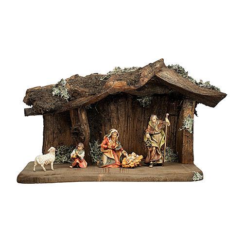 Sacra famiglia nella grotta presepe Original legno dipinto in Valgardena 10 cm - 5 pz 1