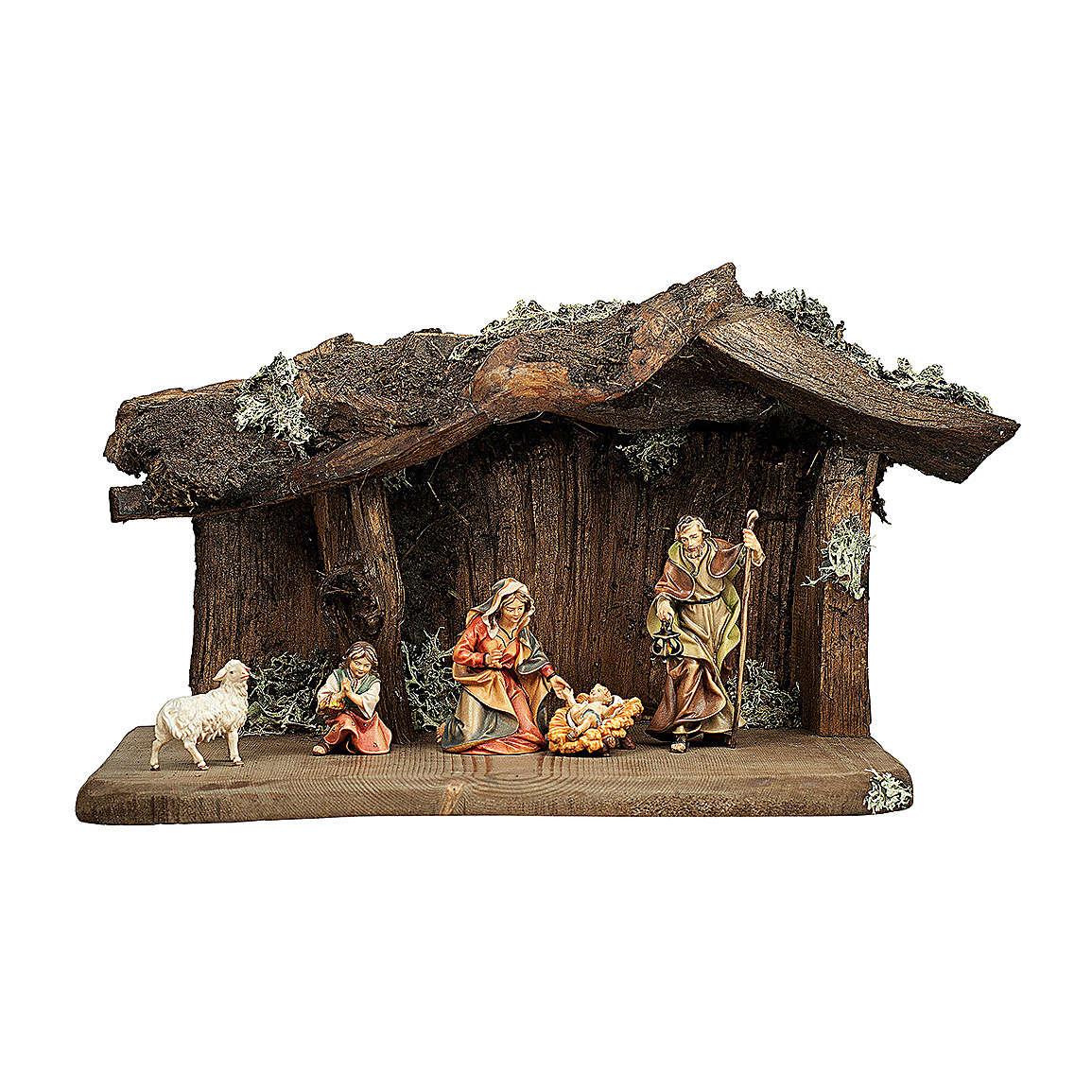 Sacra famiglia nella grotta presepe Original legno dipinto in Val Gardena 12 cm - 5 pz 4