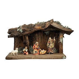 Sacra famiglia nella grotta presepe Original legno dipinto in Val Gardena 12 cm - 5 pz s1