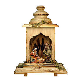 Sacra famiglia nella lanterna presepe Original legno dipinto in Valgardena 12 cm s1