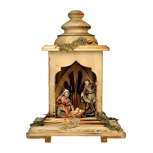 Sacra famiglia nella lanterna presepe Original legno dipinto in Valgardena 12 cm 1
