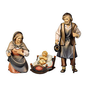 Sacra famiglia con dondolo presepe Original Pastore legno dipinto in Val Gardena 12 cm s1