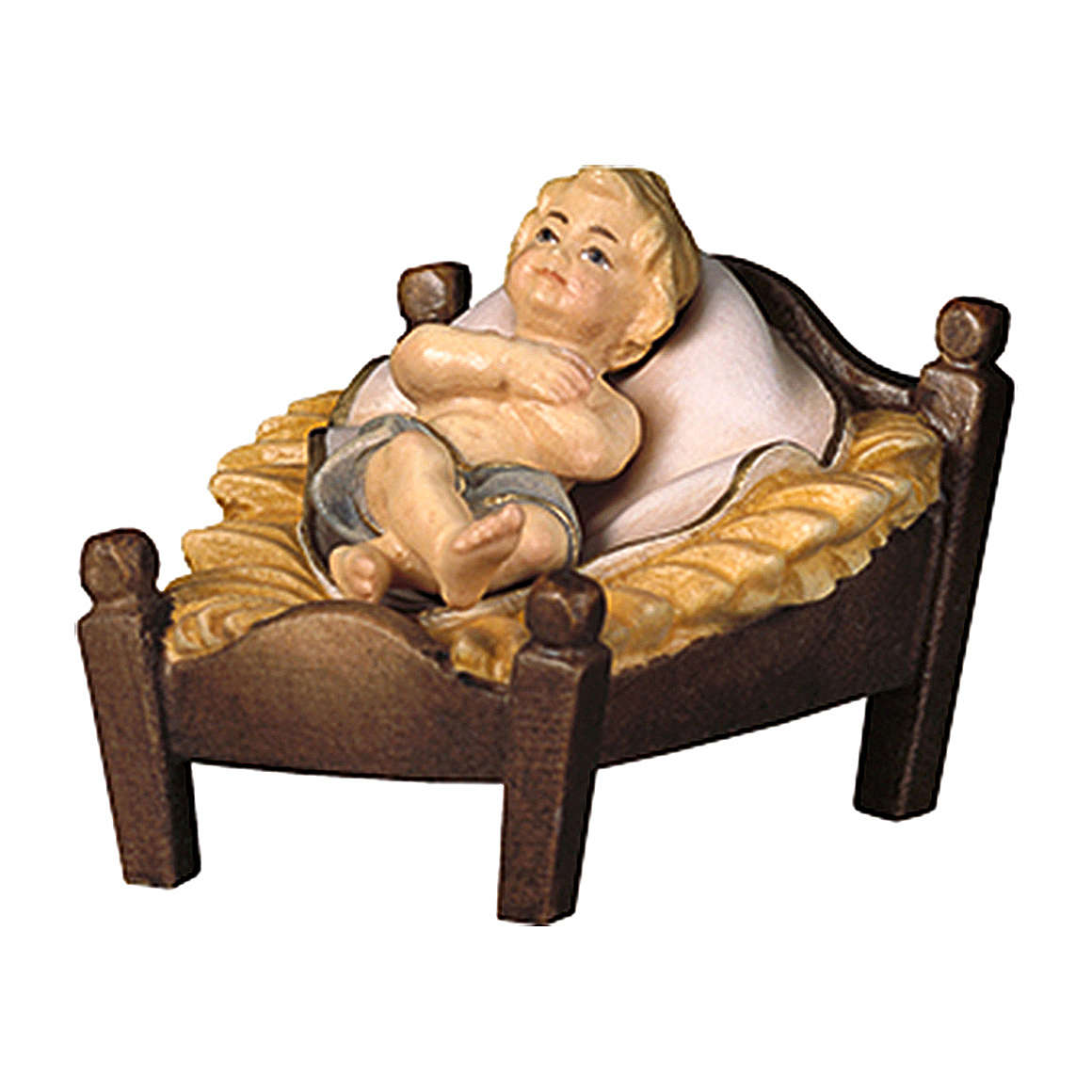Gesù bambino con culla per presepe Original Pastore legno dipinto in Valgardena 10 cm 4