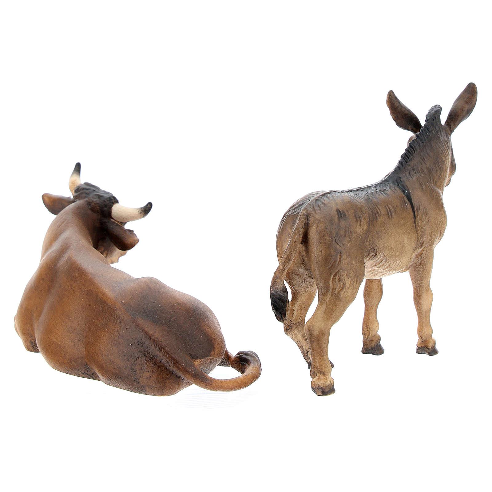 Buey y burro belén Original Pastor madera pintada en Val Gardena 10 cm de altura media 4
