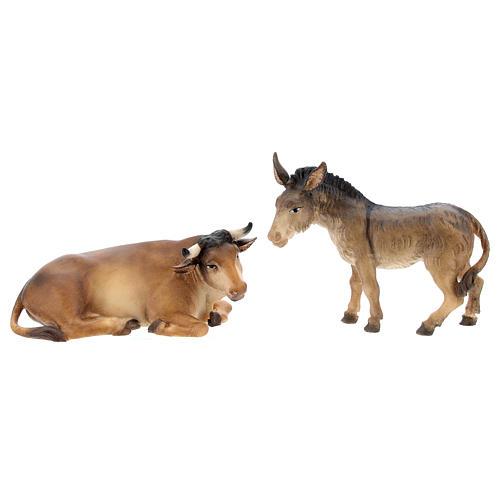 Buey y burro belén Original Pastor madera pintada en Val Gardena 10 cm de altura media 1