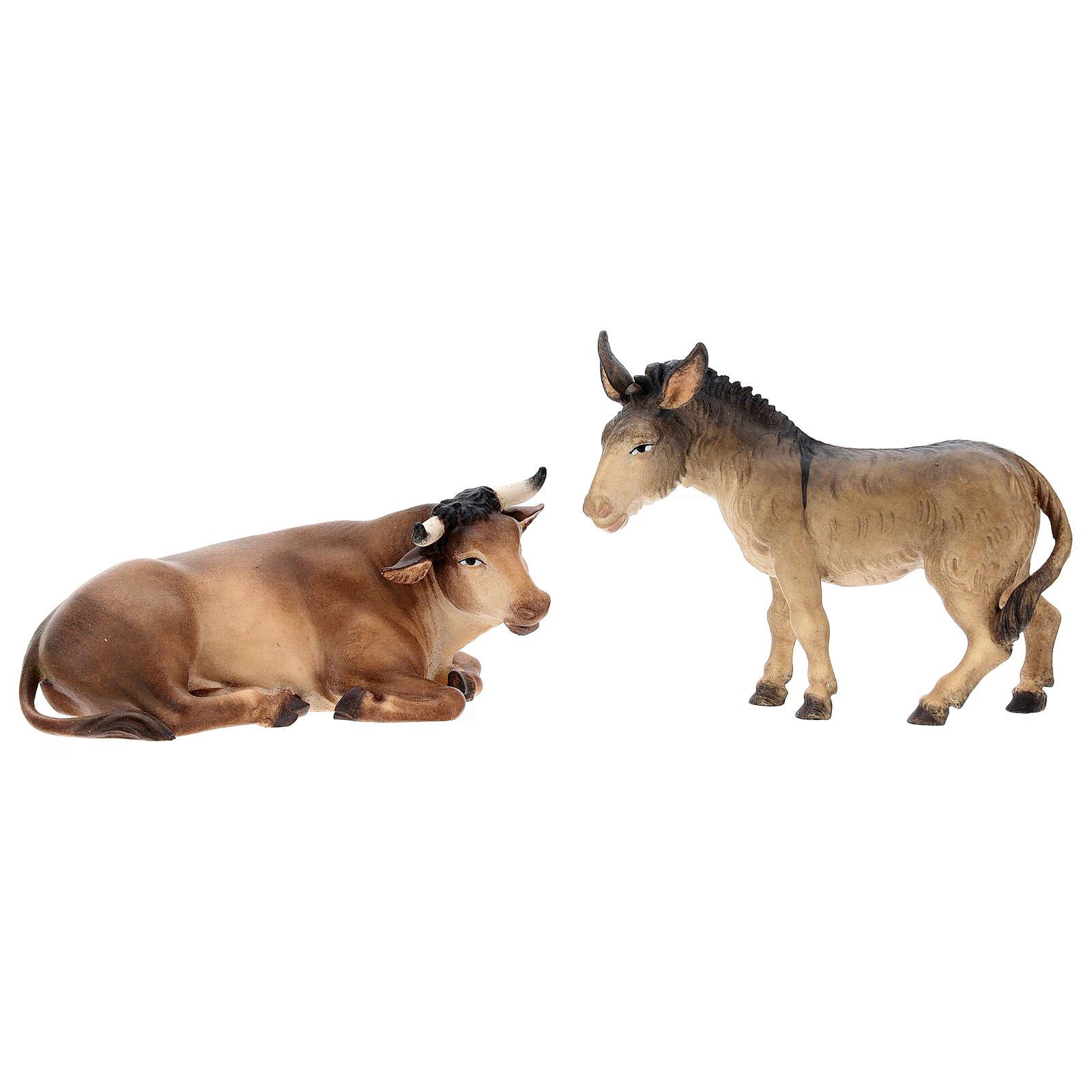 Buey y burro para belén Original Pastor madera pintada en Val Gardena 12 cm de altura media 4