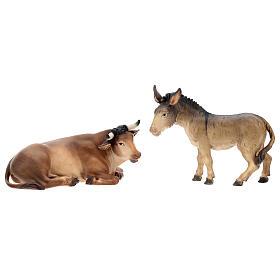Buey y burro para belén Original Pastor madera pintada en Val Gardena 12 cm de altura media s1