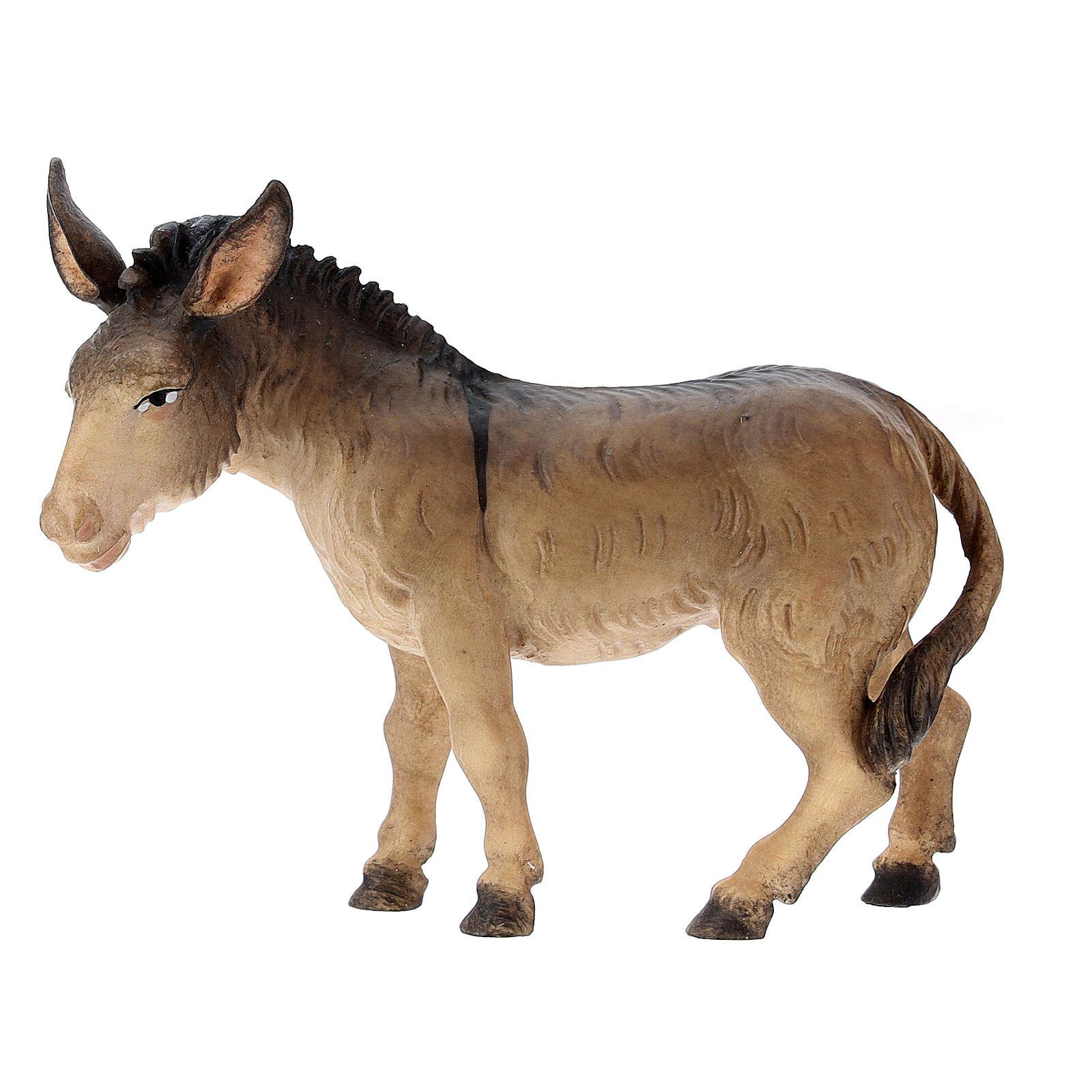 Donkey and Ox Figurines, 12 cm Nativity Original Shepherd model, in painted Val Gardena wood 4