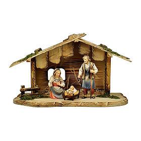 Natività nella casetta presepe Original Pastore legno dipinto in Val Gardena 12 cm s1