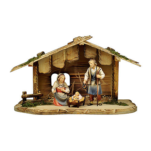 Natività nella casetta presepe Original Pastore legno dipinto in Val Gardena 12 cm 1