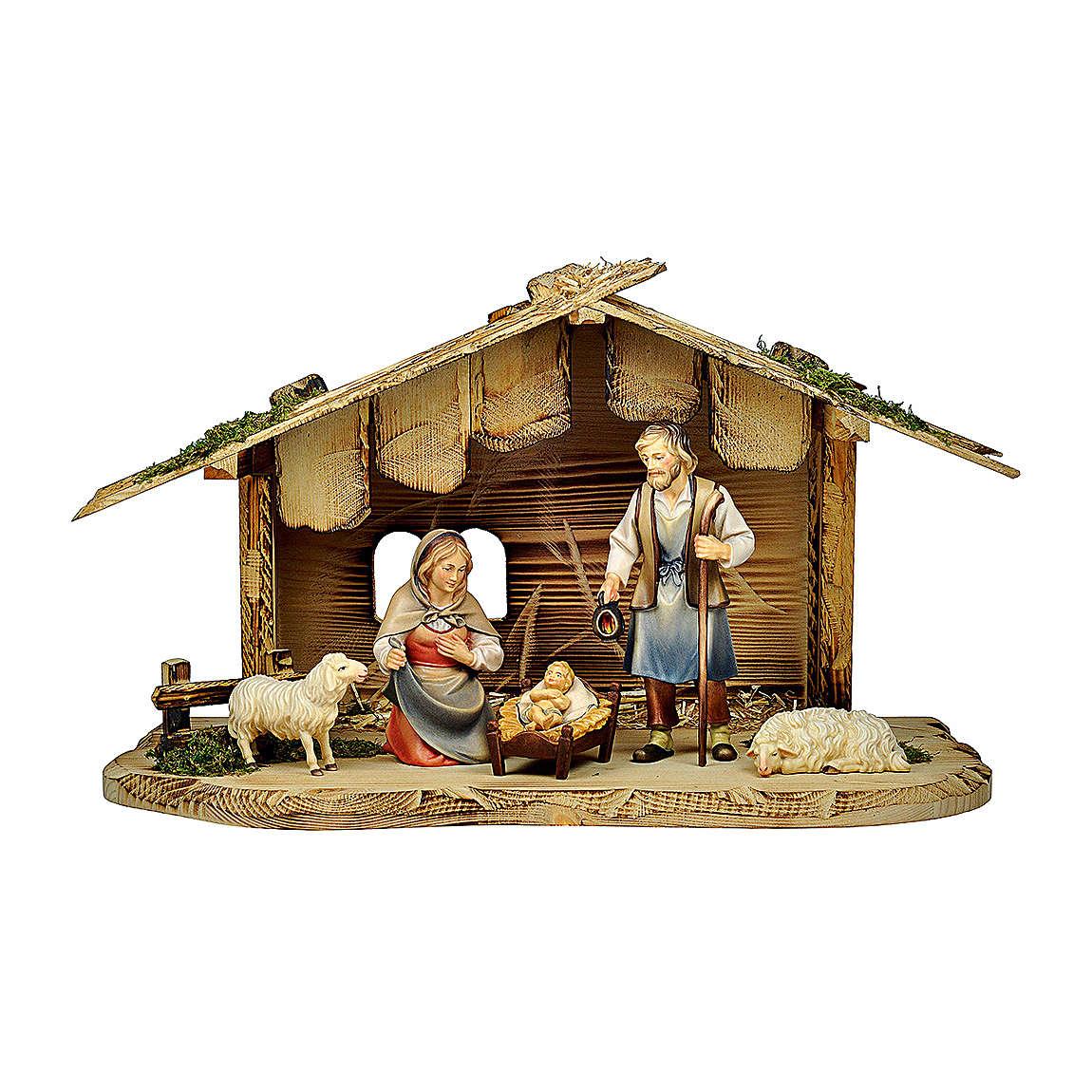Natività con pecore casetta presepe Original Pastore legno dipinto Val Gardena 12 cm - 5 pz 4