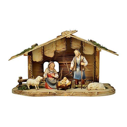 Natività con pecore casetta presepe Original Pastore legno dipinto Val Gardena 12 cm - 5 pz 1