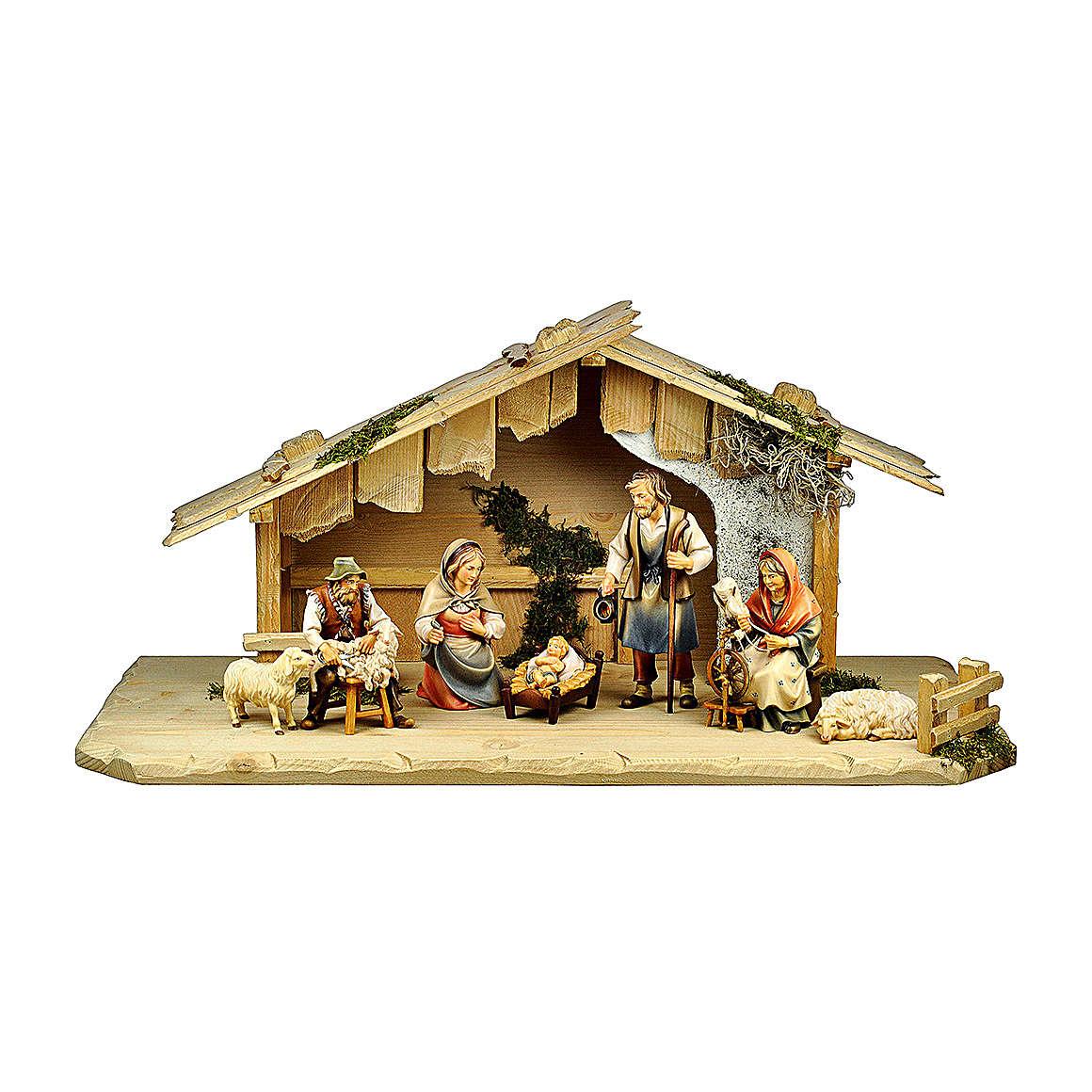 Nativité avec bergers dans maisonnette pour crèche Original Berger bois  peint Val Gardena 10 cm 7 pcs 4