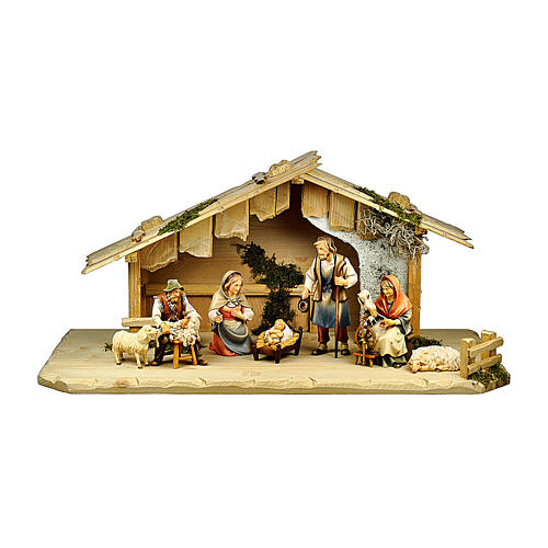 Nativité avec bergers dans maisonnette pour crèche Original Berger bois  peint Val Gardena 10 cm 7 pcs 1
