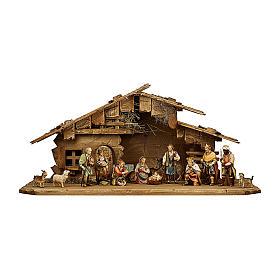 Crèche dans étable pour crèche Original Berger bois  peint Val Gardena 10 cm 14 pcs s1