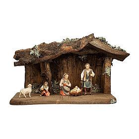 Natività nella grotta presepe Original Pastore legno dipinto in Val Gardena 12 cm - 5 pz s1