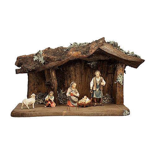 Natività nella grotta presepe Original Pastore legno dipinto in Val Gardena 12 cm - 5 pz 1