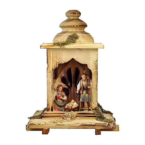 Natività nella lanterna per presepe Original Pastore legno dipinto in Valgardena 12 cm  1