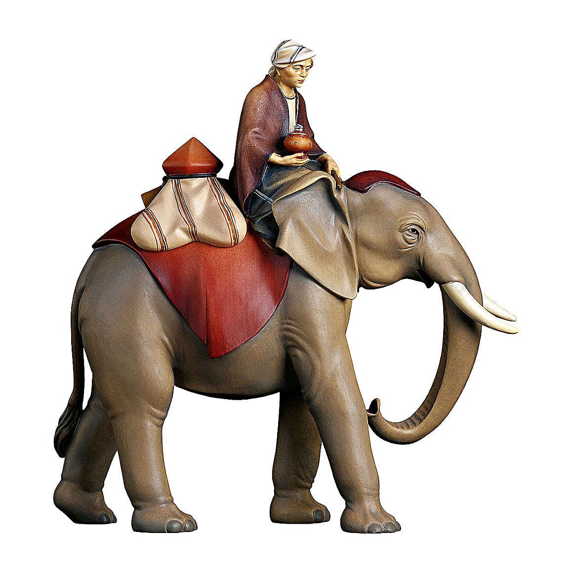 Elefante con gioielli ed elefantiere presepe Original Redentore legno Val Gardena 12 cm 4