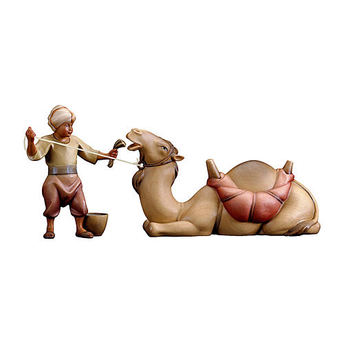 Giovane cammelliere con cammello sdraiato presepe Original Redentore legno Val Gardena 10 cm 1