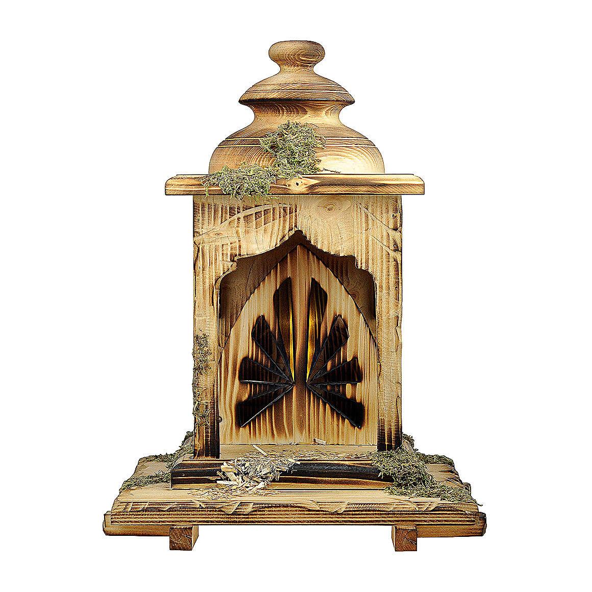 Capanna lanterna con luce presepe Original Redentore legno, Val Gardena 12 cm 4