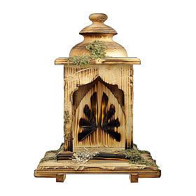 Capanna lanterna con luce presepe Original Redentore legno, Val Gardena 12 cm s1