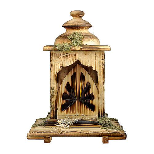 Capanna lanterna con luce presepe Original Redentore legno, Val Gardena 12 cm 1