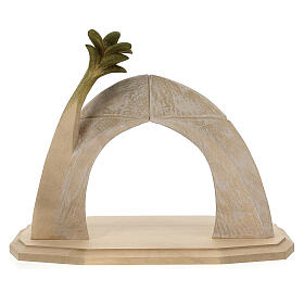 Nativity Scene in arched cave Original Redentore model in painted wood from Valgardena 12 cm - 9 pieces s13